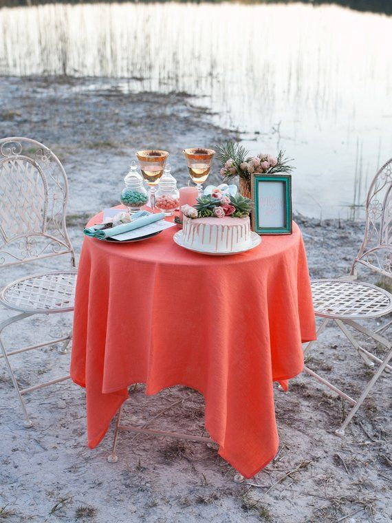 Coral Linen Tablecloth Beach Wedding Table Decor With Images