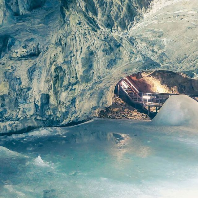 Open to tourists between May and Sept, the Dobsina #Ice #Cave is found in the 'Slovak Paradise' mountain range but has been retrofitted with stairs to make it easy to access and explore. It is one of the most significant caves in the world