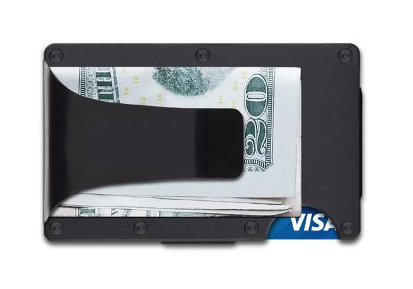 Modern, RFID-blocking wallet in black aluminum. Your wallet shouldn't be a suitcase. Free Worldwide.