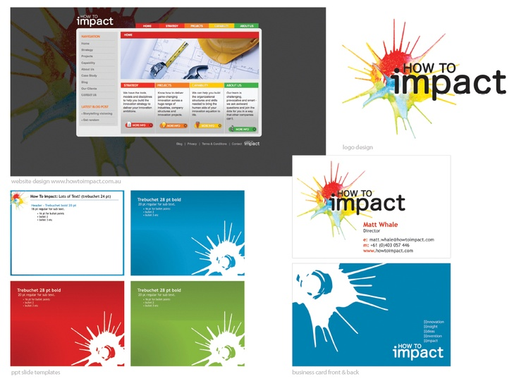 awesome innovation company - honoured to be chosen to design their brand, website and collateral - thanks guys www.howtoimpact.com
