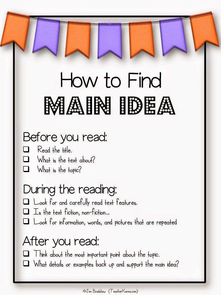 Anchor chart: How to find Main Idea! freebie!! TeacherKarma.com