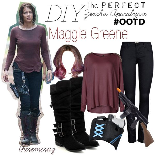 The Walking Dead's Maggie Greene has the perfect Zombie Apocalypse outfit! This would make a great Halloween costume that is easy and cheap! Wear with great mak...