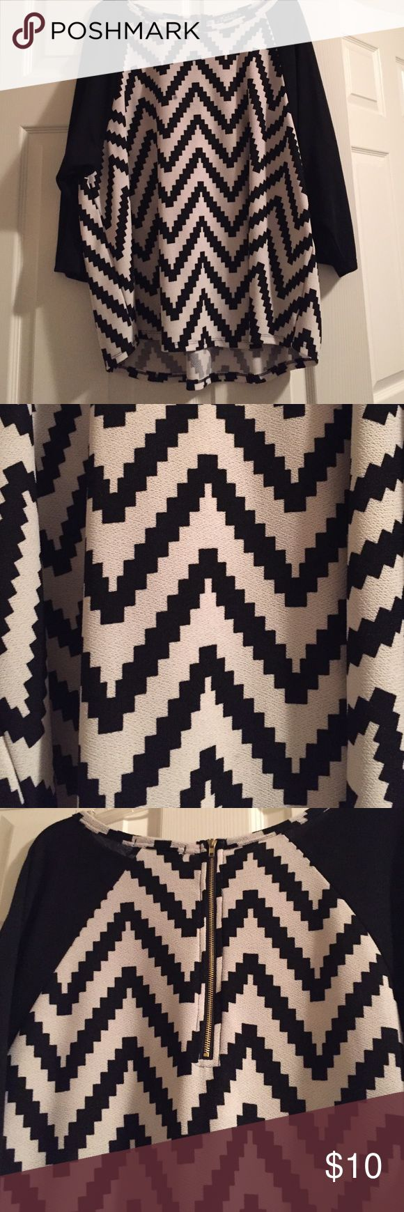 Cute chevron blouse! Super cute black and white chevron blouse. Only worn once! Only default is tiny black stain (dime size) on it. (Shown in fourth picture). The one time I wore it, a scarf covered it up! Tops Blouses