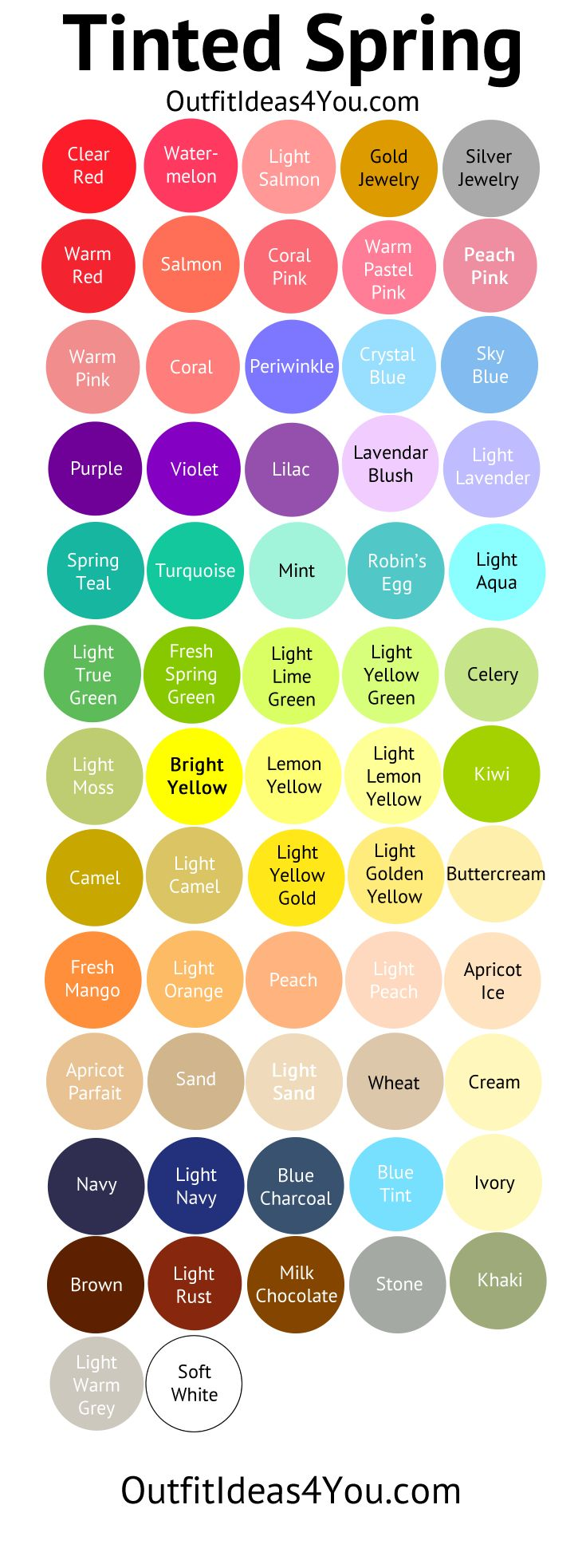 Light Spring Color Palette (Tinted Spring)                                                                                                                                                     More