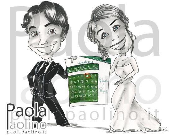 Caricatura di giovani con il calendario delle nozze in mano. Gli sposini indicano il calendario su cui è mostrata la data fissata delle nozze, cerchiata in rosso. www.paolapaolino.it #caricaturista #ritrattista #illustrazione #arte #matrimonio