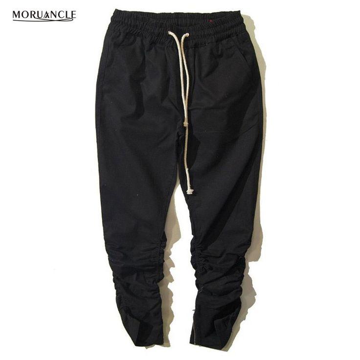 MORUANCLE Hi-Street Men Fashion Hip Hop Jogger Pants Elastic Thigh Streetwear Drop Crotch Joggers Male Drawstring Harem Trousers