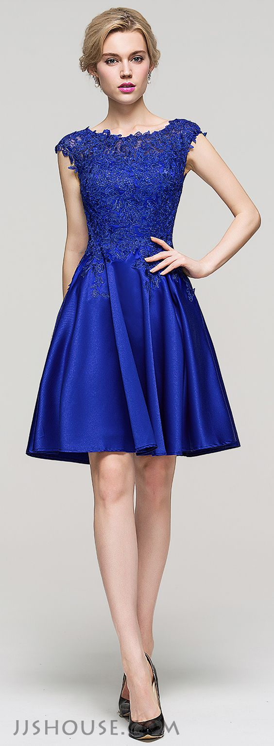 this  A-line scoop neck knee-length satin dress will pull off a classic, polished Homecoming look. #JJsHouse