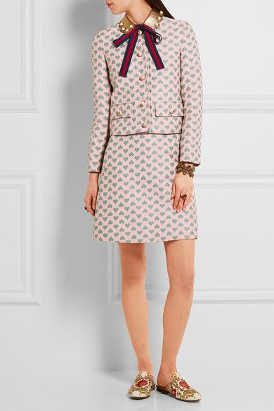 Jade and pastel-pink jacquard, gold leather   Button fastenings through front 59% polyester, 27% polyamide, 14% silk; trim: 100% leather (Lamb) Dry clean Made in ItalyAs seen in The EDIT magazine