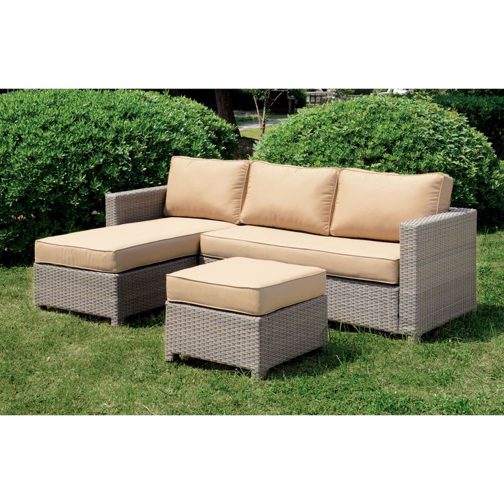 Relax in updated style with this contemporary sectional and ottoman set. The grey wicker framework is a fun color alternative to traditional outdoor seating while light yellow cushions add warmth to the outdoors regardless of the season.