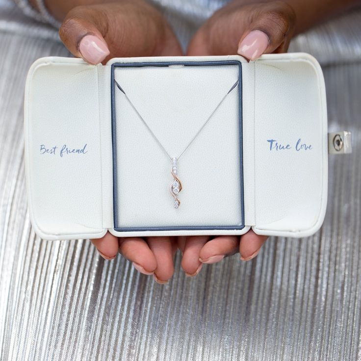 This Ever Us diamond heart necklace has two larger diamonds symbolizing your best friend and true love on your wedding day.