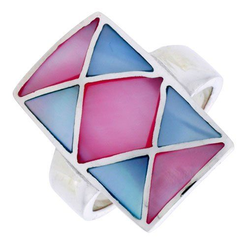 """Sterling Silver Crisscross Design Rectangular Shell Ring, w/Pink & Blue Mother of Pearl Inlay, 1"""" (25mm) wide, size 8 Sabrina Silver. $37.50"""
