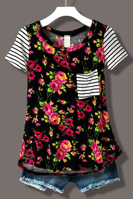 FLORAL PRINT STRIPE TEE WITH POCKET BLACK Free shipping on $50 or more! Shop complete look in our new boutique. www.lillieavenue.com best style and fashion for cute summer clothes!