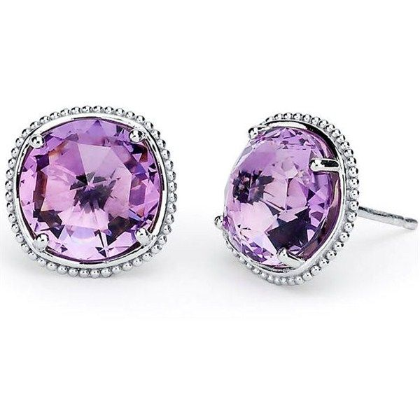 Silver and 18k Tacori 18K925 Lilac Blossoms Amethyst Stud Earrings