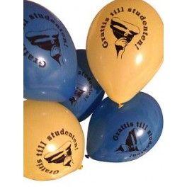 8 st ballonger/fp 4 st blåa och 4 st gula. Med studentloggan