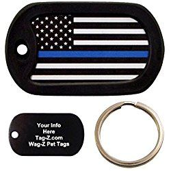Custom Engraved KEYCHAIN - Thin Blue Line Flag - Police Officer Dog Tag - Tag-Z
