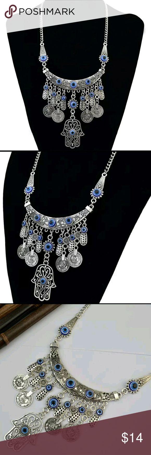 Turkish Eye Necklace - Hamsa Hand Necklace Beautiful Eye Protection Necklace Hamsa Hand Necklace  Coin Necklace Jewelry Necklaces
