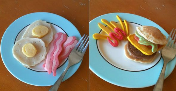 Fun pancake art. Add a little food coloring to your pancake squeeze bottle for fun creations.