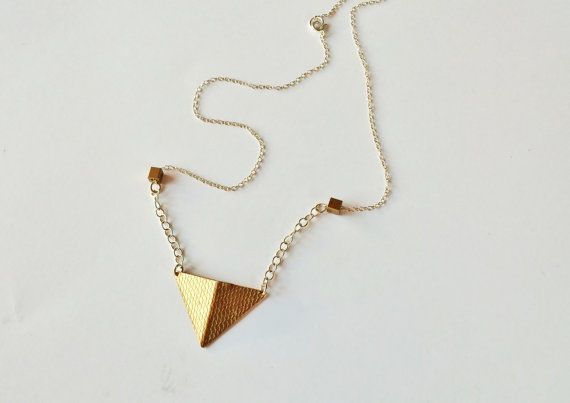 14 ct goldplate triangle necklace brass by LillyOJewellery on Etsy