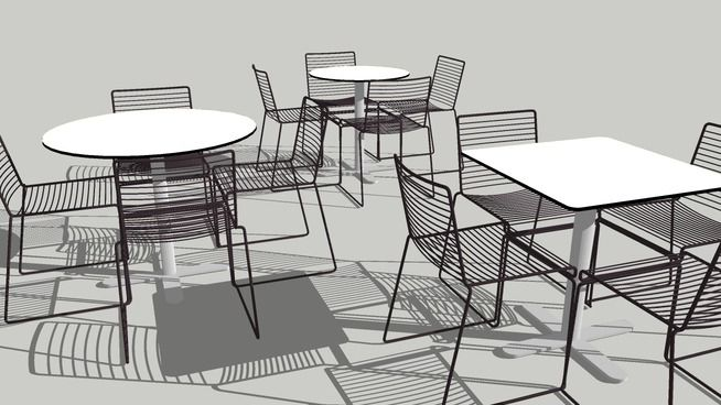 Large preview of 3D Model of HEE Chairs + MP tables for outdoor use. Dia 700, Dia 900 and 700x700 mm