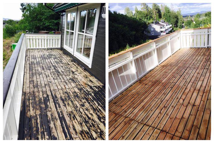 Før og etter #sliping og #beising av #terrassegulv.