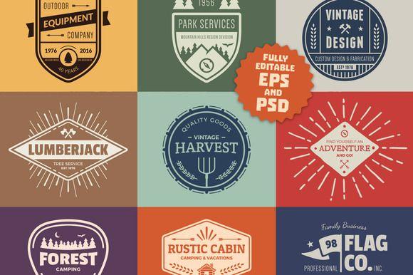 Vintage Logo Graphics & Badges by Ember Studio on @creativemarket