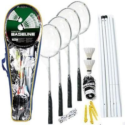 New 4 player badminton #rackets set net poles outdoor #garden #games activty fun,  View more on the LINK: http://www.zeppy.io/product/gb/2/141703634237/