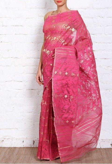 Floral muslin baby pink Dhakai-jamdani-saree