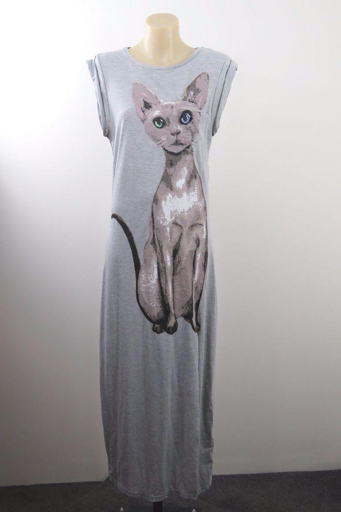 NWT Size L / 14 Ladies Grey Cat Maxi Dress Casual Boho Chic Festival Indie Style #Richcoco #Maxi #SummerBeach