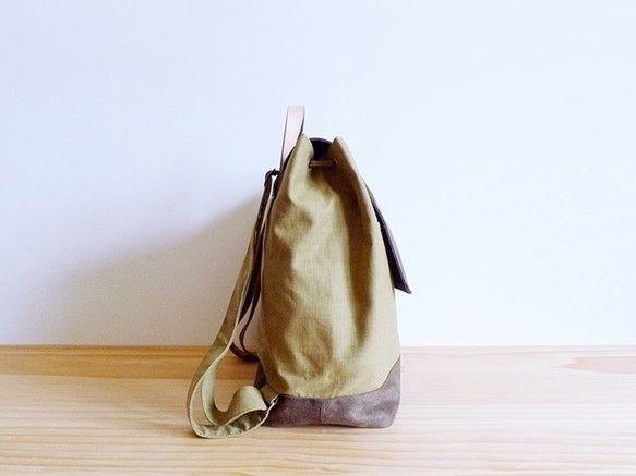 ハンドコーヒー緑の綿の布刺繍レザーバックパックの後|リュック・バックパック|makotohon|ハンドメイド通販・販売のCreema