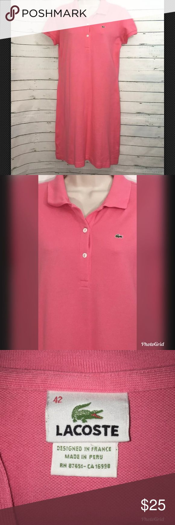 "Lacoste Polo Shirt Coral Short Sleeve Dress Lacoste Womens Size 42 Polo Shirt Dress Coral Short Sleeve Flowing Knee Length  Measurements  Bust 19""  Shoulder 15.5""  Length 36.5"" Excellent condition. Very light faint spots please see all photos. Lacoste Dresses"