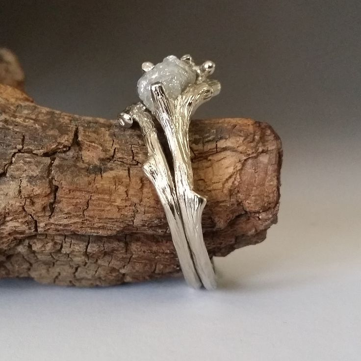 Twig Engagement Ring using Raw Uncut Rough White Black Diamonds in 18 k gold