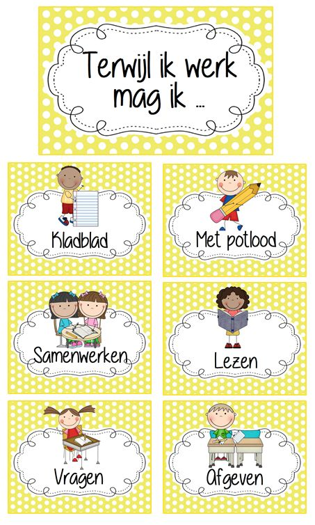 Terwijl ik werk mag ik ... Kaarten ophangen op het bord en aanduiden met een kruisje wat de leerlingen mogen doen. © Sarah Verhoeven