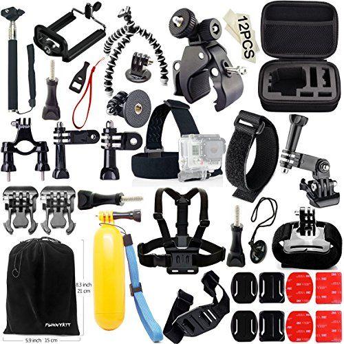 Sale Preis: FUNNYKIT Accessory Kit Set Bundle 46 in 1 Zubehör-Kit für Gopro Kamera, für Camping, Tauchen, Rad fahren. Selfie Stock Einbeinstativ + Schwimm Hand Grip + B Modell Kopfleiste + Krake-Stativ + Flach Curved Mounts mit 3M Klebeplättchen + Fahrrad Clip + Flexible Phone Clamp. Gutscheine & Coole Geschenke für Frauen, Männer & Freunde. Kaufen auf http://coolegeschenkideen.de/funnykit-accessory-kit-set-bundle-46-in-1-zubehoer-kit-fuer-gopro-kamera-fuer-camping-tauc