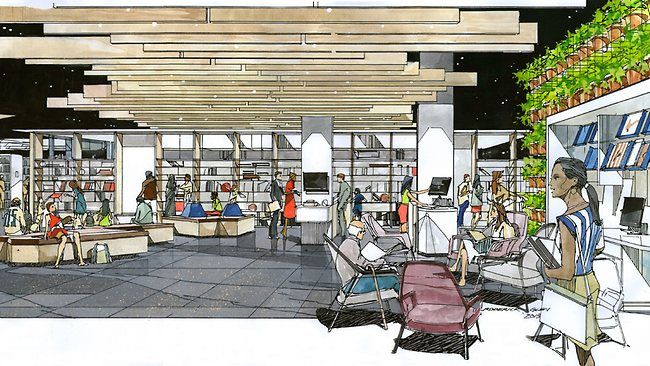 Adelaide City Council's library plan for Rundle Mall's new shopping centre Rundle Place. (Australia)