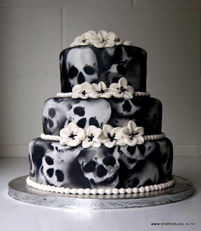 Three tier black X-ray skull cake.