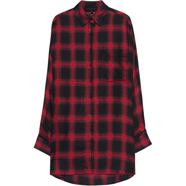 Kendall + Kylie Oversized Plaid Red // Plaid shirt dress (14.885 RUB) via Polyvore featuring dresses