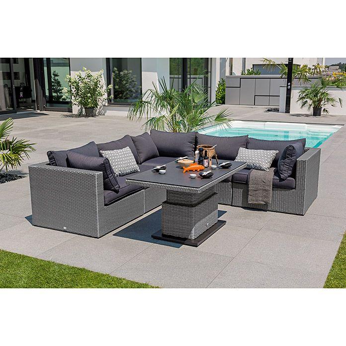 Sunfun Neila Loungemobel Set 6 Tlg Auflagen Polyrattan Silbergrau Bauhaus Lounge Mobel Lounge Mobel
