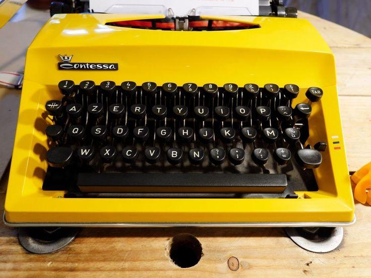 machine à écrire TRIUMPH ADLER CONTESSA DE LUXE JAUNE Vintage Révisée+ruban NEUF #TriumphAdler