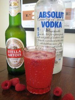 Raspberry Beer Cocktail 5 muddled raspberries  .75 oz vodka Splash of Fresh Lemon juice Top with Stella  Garnish with Rasperries