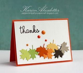 Thanks card by Karin Åkesdotter for Paper Smoochers - Sentiment Sampler, Large Leafdies