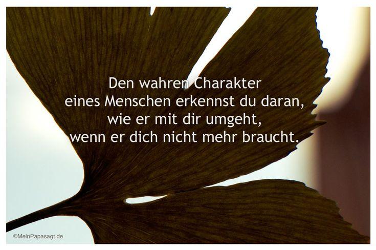 Mein Papa sagt...  Den wahren Charakter eines Menschen erkennst du daran, wie er mit dir umgeht, wenn er dich nicht mehr braucht.   #Zitate #deutsch #quotes      Weisheiten und Zitate TÄGLICH NEU auf www.MeinPapasagt.de