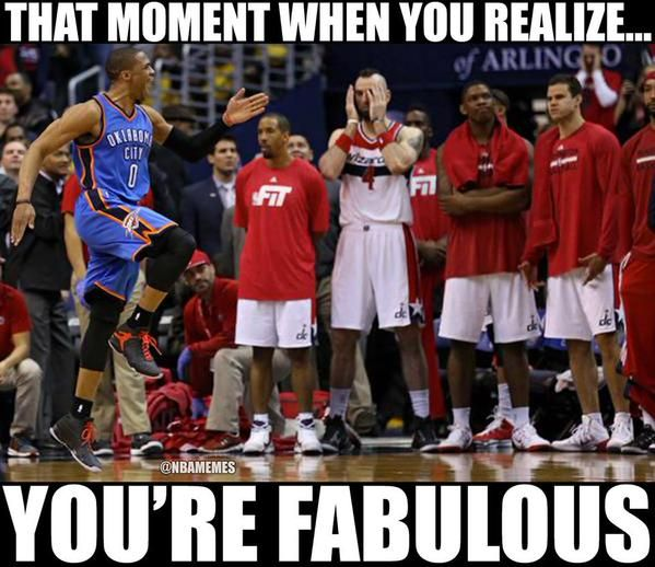 When Russell Westbrook HIT that Game-Winning shot .....he skipped past their bench! He's awesome!