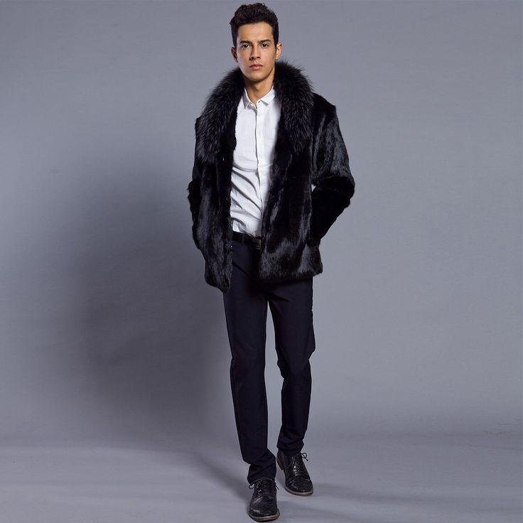 Mode Hommes D'hiver Outwear Pardessus Artificielle Faux Col De Fourrure Revers Automne Régulière Manteau Chaud Parka Tranchée Manteau S-3XL De Luxe Top