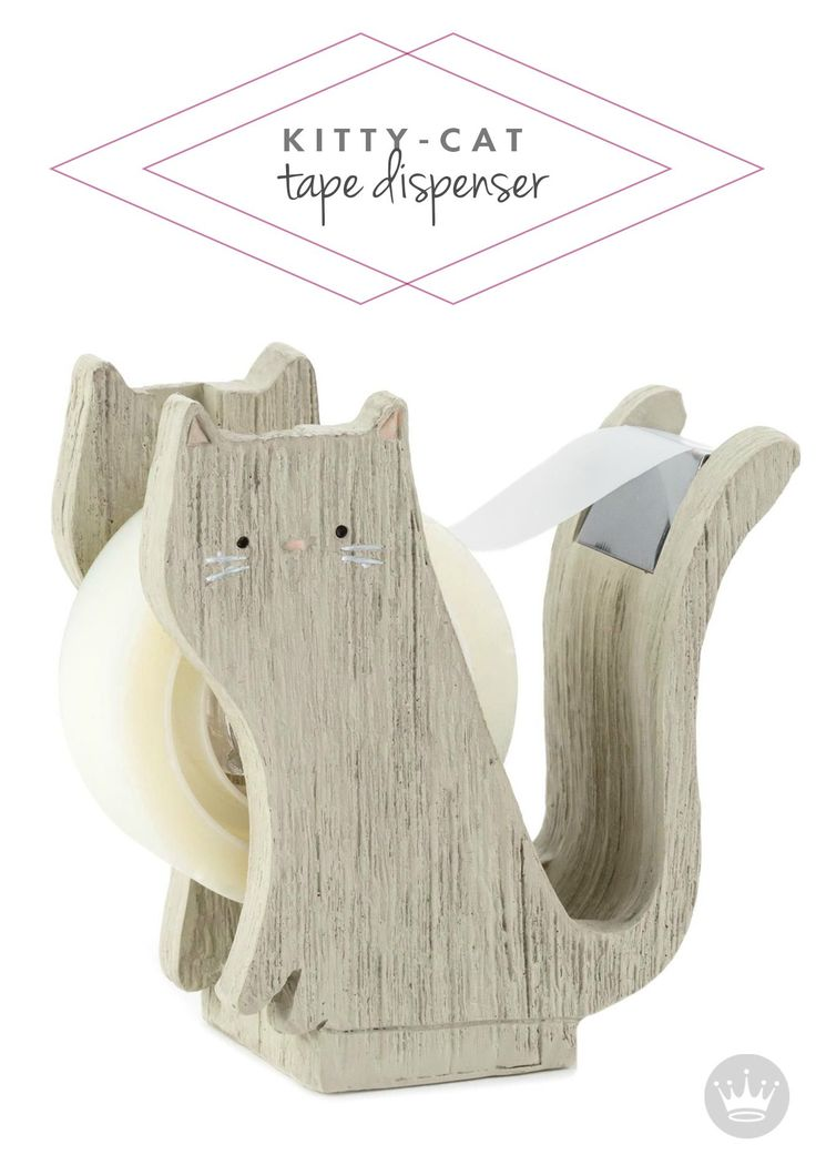Perfect for your cat-loving child, this adorable Wooden Kitten Tape Dispenser would make a sweet and thoughtful back-to-school gift that is useful and decorative—every girl's dream!