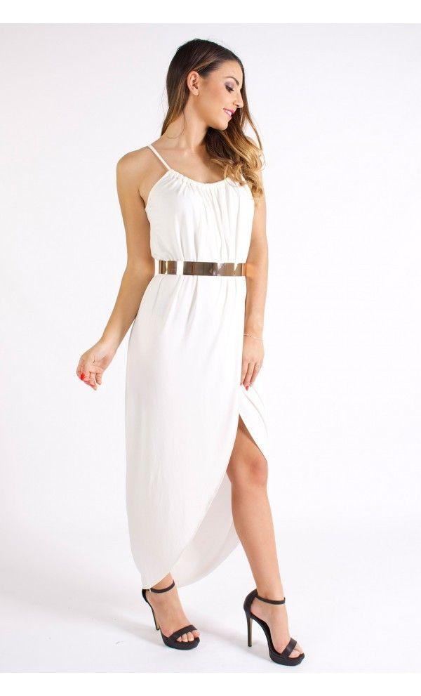 White Wrap-Style Empress Maxi Dress. #ustrendy www.ustrendy.com