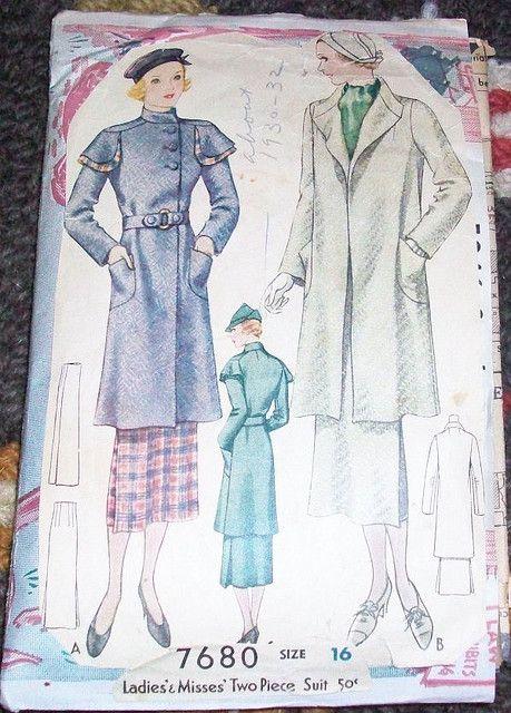 McCall 7680 | ca. 1934 Ladies' & Misses' Two-Piece Suit