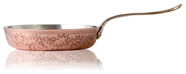 """Amoretti Brothers Hand-Engraved Copper Fry Pan Leaves, 11"""" traditional-frying-pans-and-skillets"""