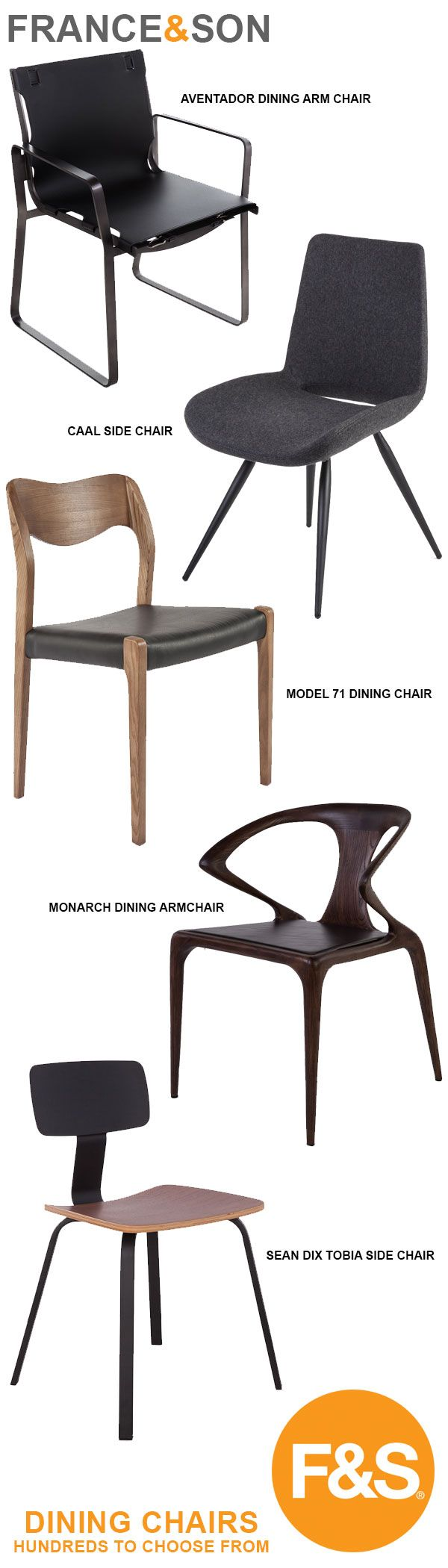 A collection of Modern and Mid-Century Modern Dining Chairs