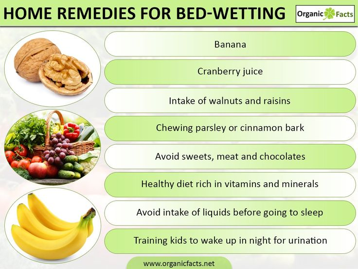 Home remedies for bedwetting include walnut, raisin, healthy diet, cranberry juice, banana, parsley leaves, cinnamon bark, herbal tea, avoiding sweets, meat, chocolate, preserved food items, liquid, training and positive reinforcement etc. Bedwetting is an involuntary act of urinating unknowingly. It causes embarrassment in individuals. Proper eating habits and avoiding liquids before sleeping along with other remedial measures can completely cure the habit.