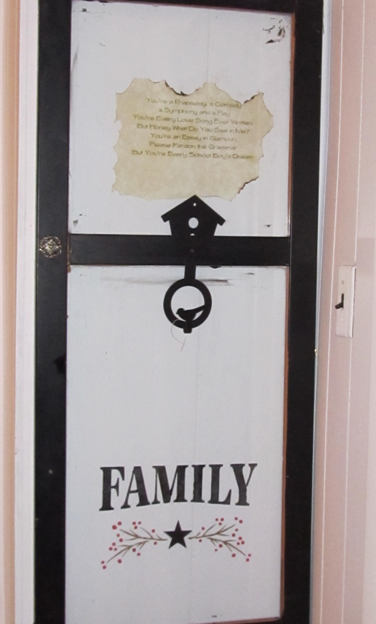 Glass entertainment center door re-purposed as a frame on the wall.  Fave Song Lyrics printed on  parchment paper, burned edges, adhered to wall under glass, stenciled art in bottom window.    Rod Stewart, music, rock n roll, You're in my Heart, lyrics, songs